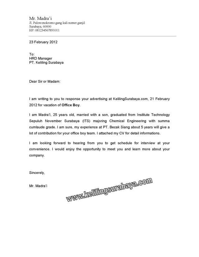Surat Lamaran Kerja Dalam Bahasa Inggris Beserta Artinya